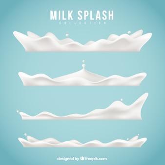 Set de cuatro salpicaduras de leche en estilo realista