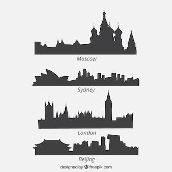 Set de cuatro siluetas de paisaje urbano