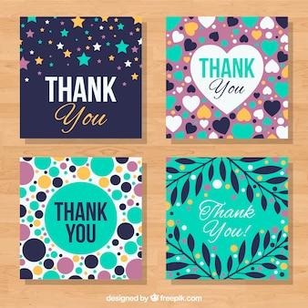Set de cuatro tarjetas bonitas de agradecimiento