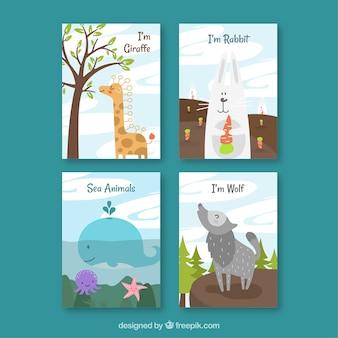 Set de cuatro tarjetas bonitas de animales
