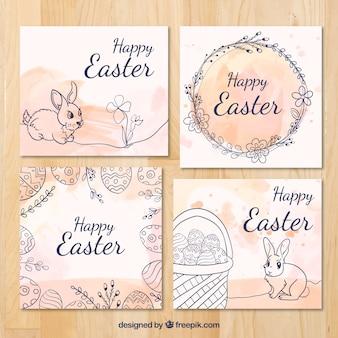 Set de cuatro tarjetas de felicitación de pascua con manchas de acuarela