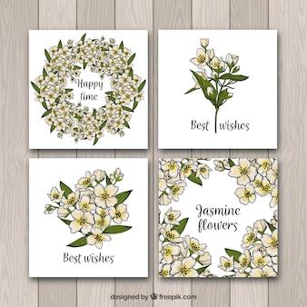 Set de cuatro tarjetas de jazmines dibujados a mano