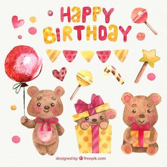 Set de decoración de cumpleaños adorable de acuarela