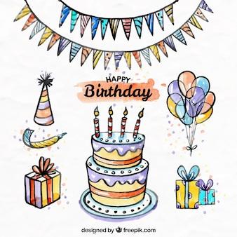 Set de decoración de cumpleaños de acuarela dibujado a mano