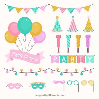 Set de decoración de cumpleaños en colores