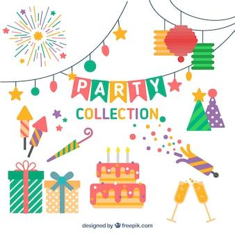 Set de decoración de cumpleaños en diseño plano