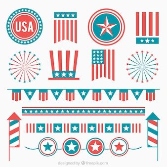 Set de decoración retro del día de la independencia en diseño plano