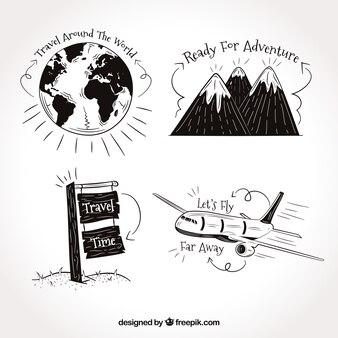 Set de dibujos de viaje con frases
