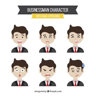 Set de diferentes expresiones de hombre de negocios