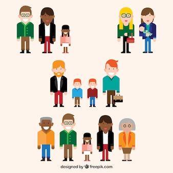 Set de diferentes tipos de familia