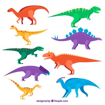 Set de dinosaurios planos de colores