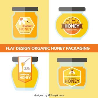 Set de diseños de tarros de miel ecológica