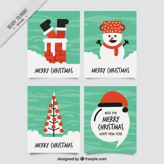 Set de divertidas tarjetas de navidad