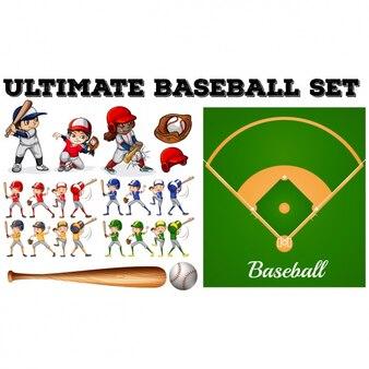Set de elementos de béisbol
