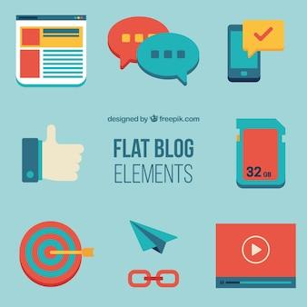 Set de elementos de blog en diseño plano