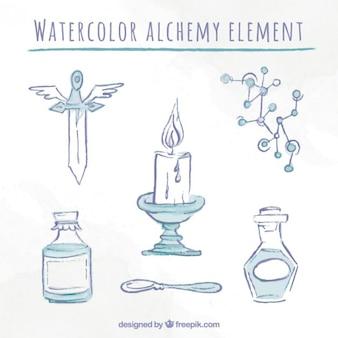 Set de elementos de bocetos de acuarela de alquimia
