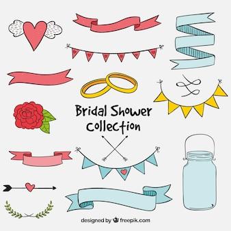 Set de elementos de boda dibujados a mano