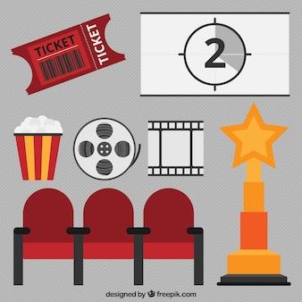 Set de elementos de cine en diseño plano