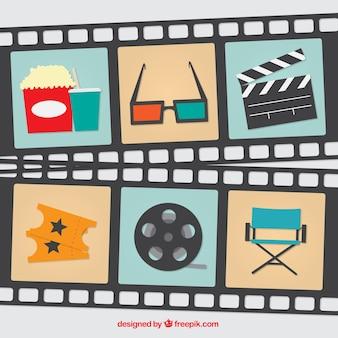 Set de elementos de cine y fotogramas