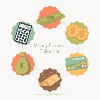 Set de elementos de dinero en estilo vintage