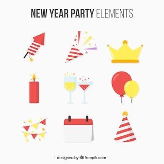 Set de elementos de fiesta de año nuevo en diseño plano