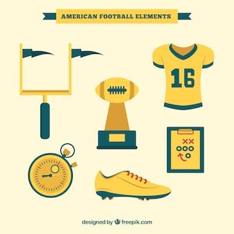 Set de elementos de fútbol americano