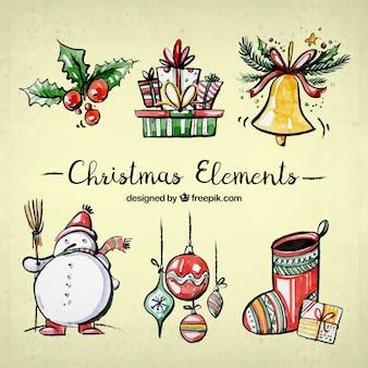 Set de elementos de navidad de acuarela