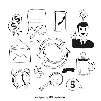 Set de elementos de negocio dibujados a mano
