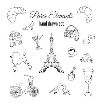 Set de elementos de parís dibujados a mano
