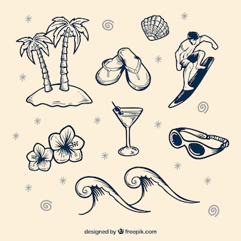 Set de elementos de playa dibujados a mano