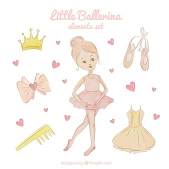 Set de elementos de una pequeña bailarina adorable