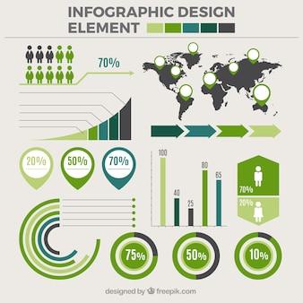 Set de elementos infográficos con detalles verdes