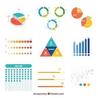 Set de elementos infográficos de colores en diseño plano