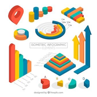 Set de elementos infográficos isométricos