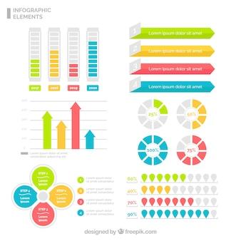 Set de elementos infográficos útiles en cuatro colores diferentes
