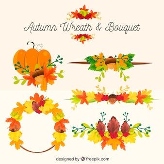 Set de elementos naturales de otoño decorativos