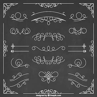 Set de elementos ornamentales dibujados a mano