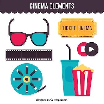 Set de elementos plano de cine