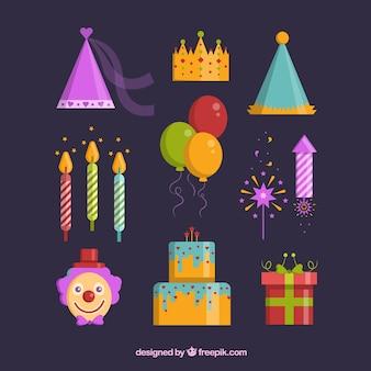 Set de elementos planos de cumpleaños para decorar