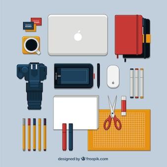 Set de elementos planos de diseño gráfico