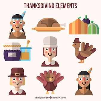 Set de elementos y personajes de acción de gracias