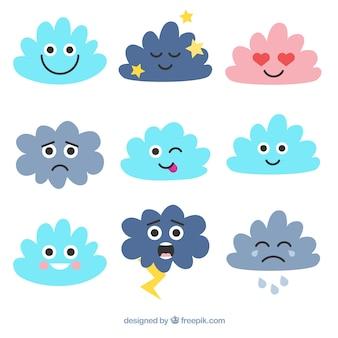 Set de emoticonos de nubes