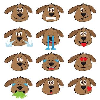 Set de emoticonos de perro