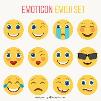 Set de emoticonos simpáticos en estilo plano
