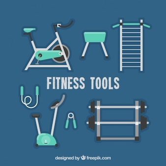 Set de equipamiento de gimnasio en diseño plano