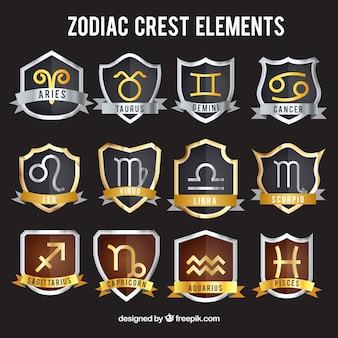 Set de escudos heráldicos del zodiaco