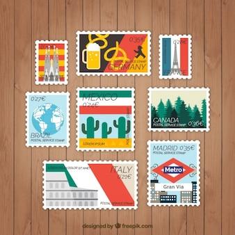 Set de etiquetas de paises en diseño plano