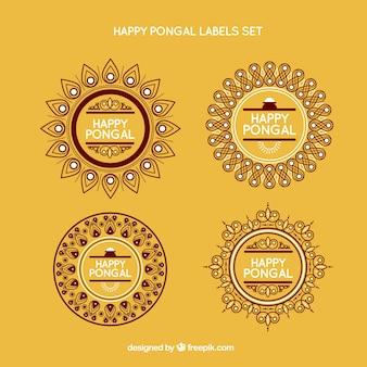 Set de etiquetas de Pongal
