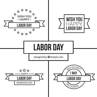 Set de etiquetas del día del trabajo en blanco y negro