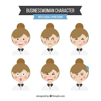 Set de expresiones de mujer de negocios